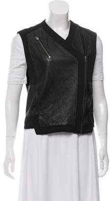 Helmut Lang Leather Zippered-Accented Vest