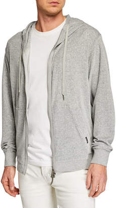 Tom Ford Men's Heathered Velour Zip-Front Hoodie