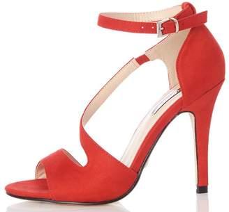 Quiz Red Faux Suede Strap Sandals
