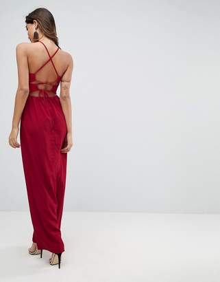 Asos Design Tie Back Maxi Dress