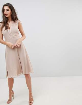 Elise Ryan Midi Dress With Lace Detail