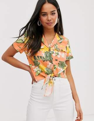 Miss Selfridge shirt in tropical pattern two-piece