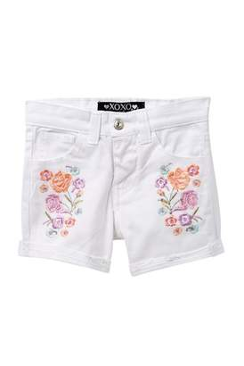 XOXO Embroidered Floral Shorts (Little Girls)