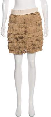 Robert Rodriguez Silk Fringe-Accented Mini Skirt w/ Tags