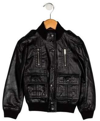 Gucci Boys' Leather Bomber Jacket