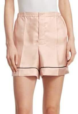 Prada Silk Twill Piped Shorts
