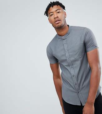 Jacamo short sleeve grandad shirt in gray