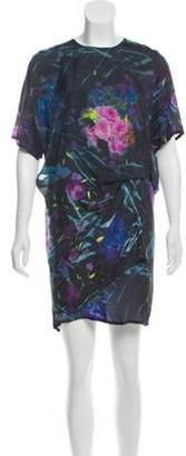 Acne Studios Floral Crepe Mini Dress Blue Floral Crepe Mini Dress