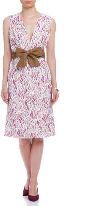 Viaggio Blu (ビアッジョ ブルー) - Viaggio Blu ブッチャー リーフプリント リボンベルト付 ドレス ピンク 1