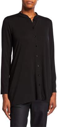 Eileen Fisher Button-Front Long-Sleeve Jersey Shirt w/ Mandarin Collar