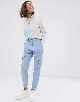 Bershka pocket detail turnup pants in blue