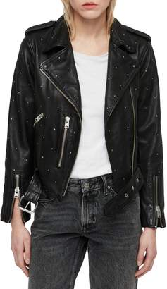 AllSaints Balfern Studded Leather Biker Jacket