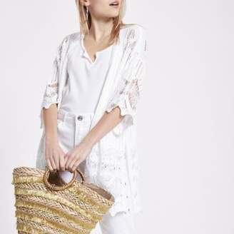 River Island Womens Petite white crochet kimono sleeve cardigan