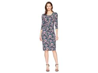Prabal Gurung Floral Jersey Shayla Long Sleeve Knot Front Dress Women's Dress
