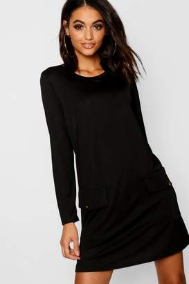 boohoo Button Pocket Detail Shift Dress