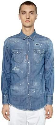 DSQUARED2 Distressed Stretch Denim Western Shirt