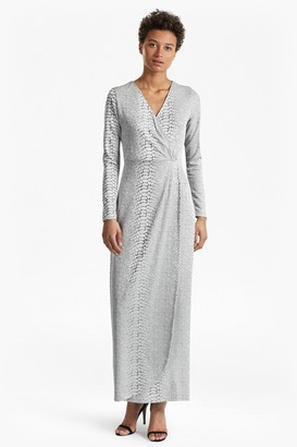 French Connection Snake Jacquard Maxi Wrap Dress