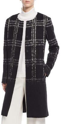 Eileen Fisher Round-Neck Alpaca Shadow-Plaid Coat