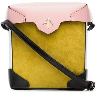 Atelier Manu yellow and bubblegum Mini Pristine suede and leather cross-body bag