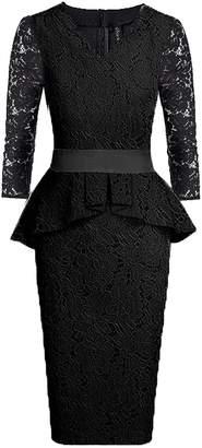 SUJAN Women's Dresses Lace Peplum 3/4 Long Sleeve Bodycon Casual Midi Gown S
