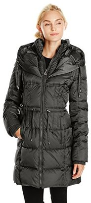Betsey Johnson Women's Long Puffer Coat with Cinched Waist $100.24 thestylecure.com
