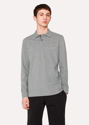 Paul Smith Men's Grey Organic-Cotton Zebra Logo Long-Sleeve Polo Shirt