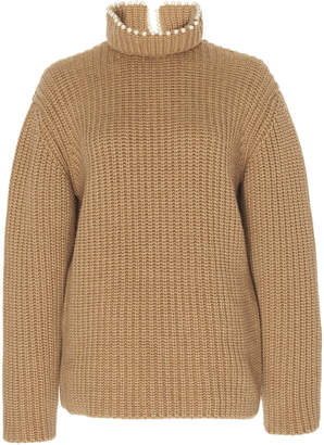 Loewe High Neck Pearls Cashmere-Blend Sweater