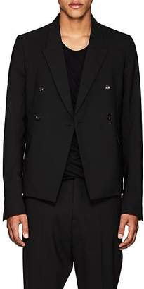Rick Owens Men's Stretch-Wool Double-Breasted Sportcoat - Black