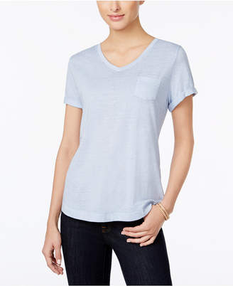 Style&Co. Style & Co Petite Burnout V-Neck T-Shirt, Created for Macy's