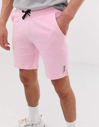 Bershka jogger shorts in light pink