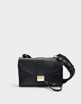 HUGO BOSS Kanye Shoulder Bag in Black Grainy Goatskin