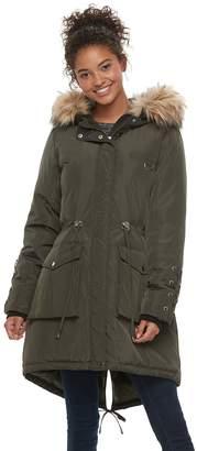 Steve Madden Nyc NYC Juniors' Faux-Fur Hood Anorak Jacket