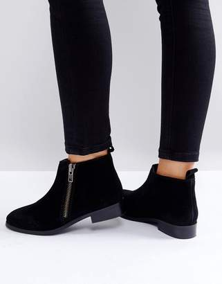Miss KG Spitfire Suede Zip Flat Ankle Boots