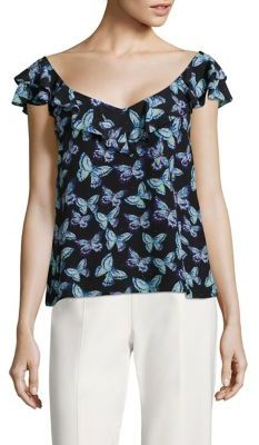 Nanette Lepore Papillon Butterfly Printed Silk Top $298 thestylecure.com