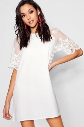 boohoo Lace Sleeve Shift Dress