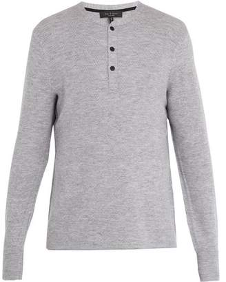 Rag & Bone - Gregory Long Sleeved Wool Blend Henley Top - Mens - Grey