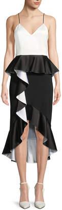 Alice + Olivia Oriana Sweetheart-Neck Peplum Ruffle Date Night Dress