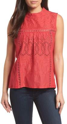 Caslon Embroidered High Neck Tank