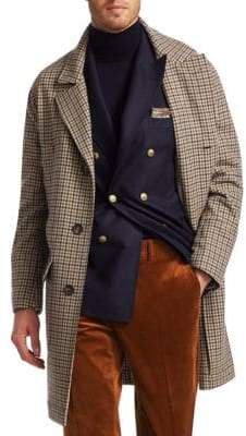 Brunello Cucinelli Cashmere-Blend Glen Plaid Overcoat