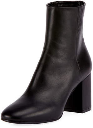 Balenciaga Leather Block-Heel Ankle Boots, Black