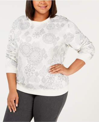 Karen Scott Plus Size Printed Crew-Neck Sweatshirt