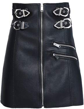 Versace Buckled Faux Leather Mini Skirt