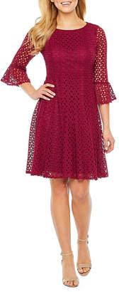 Rabbit Rabbit Rabbit DESIGN Design 3/4 Sleeve Lace Fit & Flare Dress