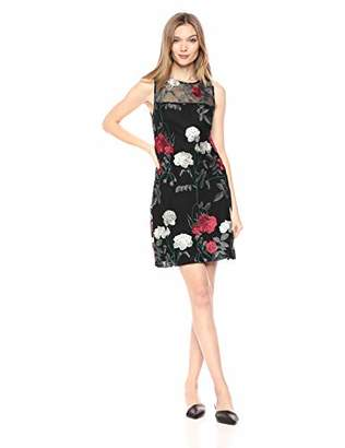 Vince Camuto Women's Floral Patterned Sleeveless Shift Dress