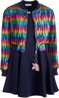Beautees Big Girls 2-Pc. Rainbow Bomber Jacket & Dress Set