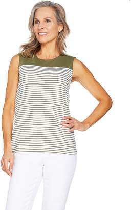 Denim & Co. Striped Sleeveless Round Neck Top