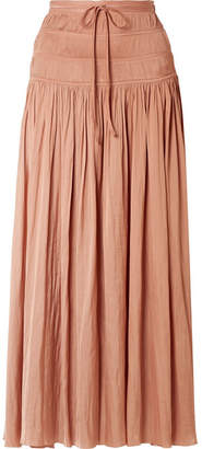 Ulla Johnson Isidore Smocked Sateen Maxi Skirt - Blush