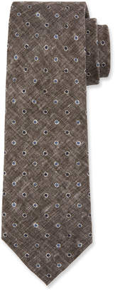 Brunello Cucinelli Dot-Pattern Linen/Silk Tie