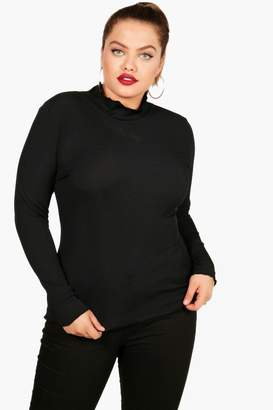 boohoo Plus Ribbed Frill High Neck Top