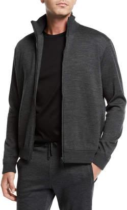 Brioni Men's Heathered Jersey Zip-Front Jacket